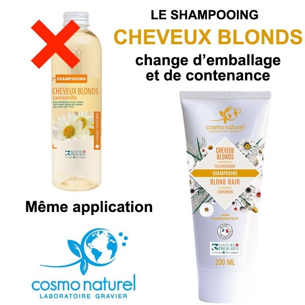 Nouvel emballage et contenance pour le shampooing Cheveux Blonds Camomille - 200 ml – Cosmo Naturel