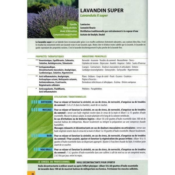 Exemple fiche du guide d'utilisation des huiles essentielles bio
