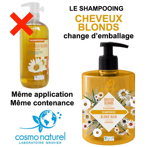 Changement d'emballage pour le shampooing Cheveux Blonds Camomille Cosmo Naturel
