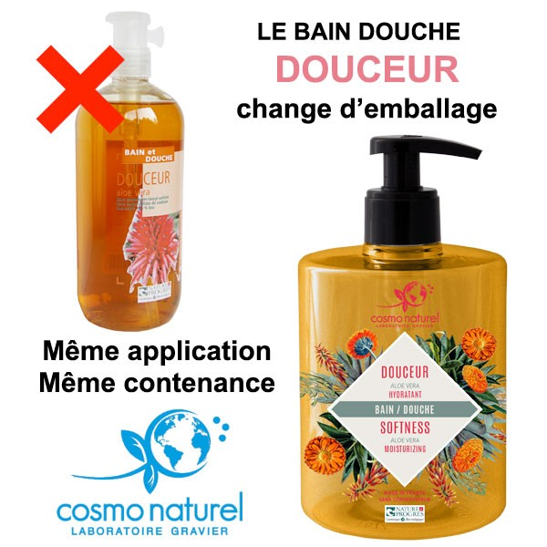Changement d'emballage pour le gel bain & douche Douceur Aloe Vera - 500ml – Cosmo Naturel