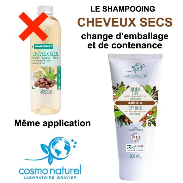 Changement d'emballage et de contenance pour le Shampooing Cheveux Secs Karité Jojoba Aloe - 200 ml – Cosmo Naturel