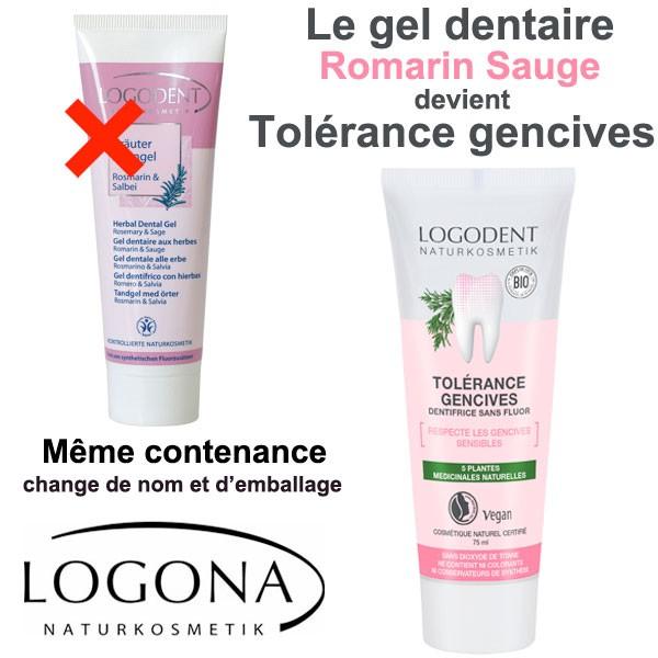 Changement de nom et d'étiquette pour le dentifrice romarin sauge Tolérance gencives – 75 ml - Logona