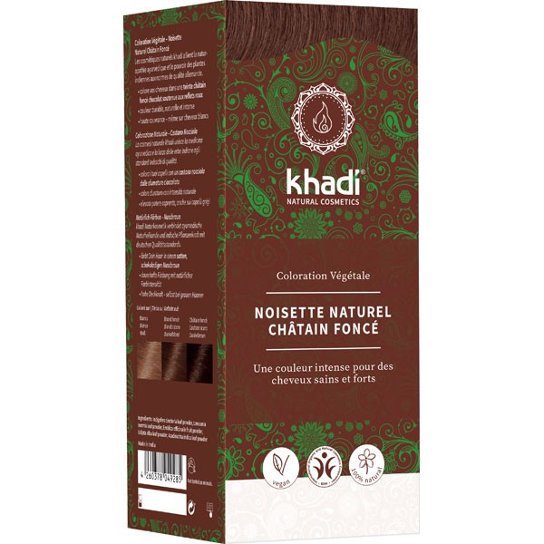 Coloration naturelle aux plantes Noisette / Chatain foncé - 100 gr - Khadi®