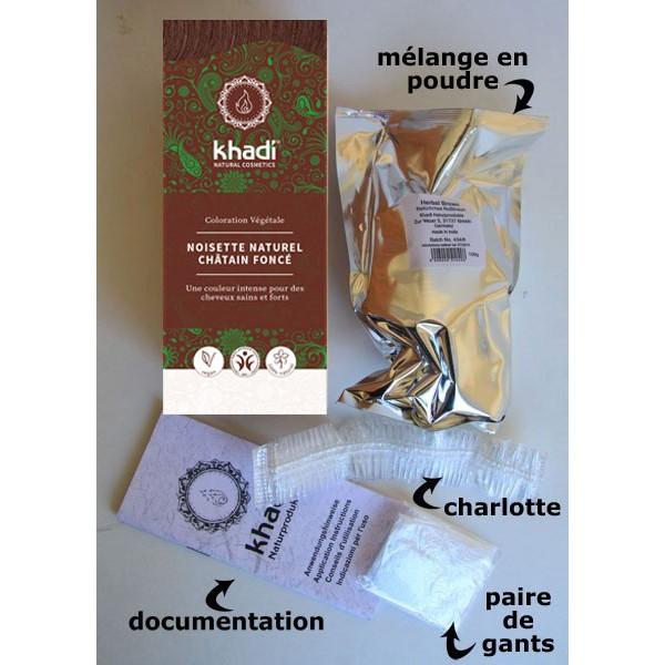 Détail du contenu pour la coloration naturelle aux plantes Noisette - 100g - Khadi®
