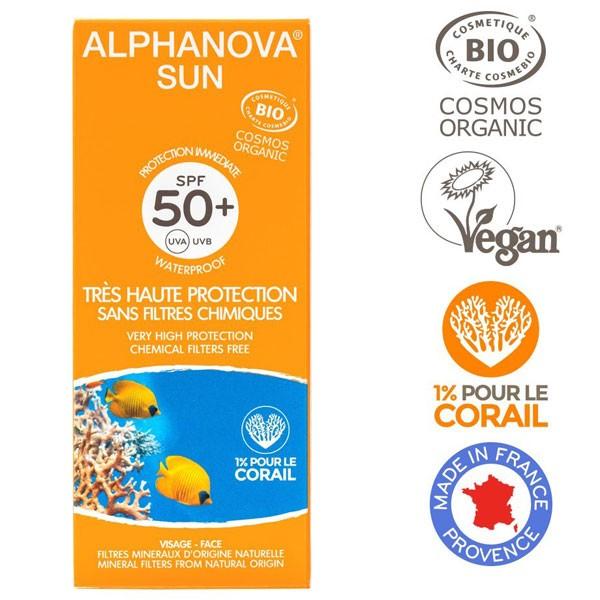Soins protection solaire Bio Adultes – SPF 50 – tube de 50 gr – Alphanova