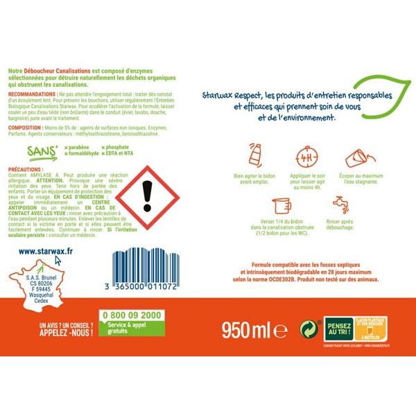 Etiquette du déboucheur canalisations 100% origine naturelle Starwax Respect
