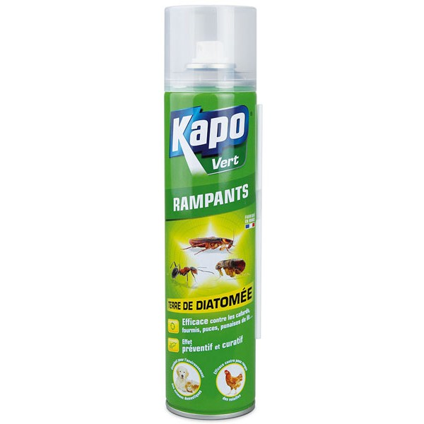 Aérosol terre de diatomée spécial insectes rampants - 400 ml - Kapo Vert
