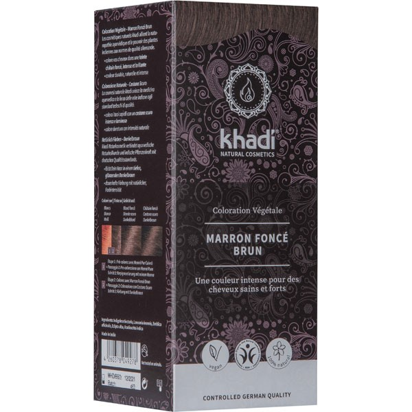 Coloration naturelle aux plantes Marron foncé brun - 100 gr - Khadi®