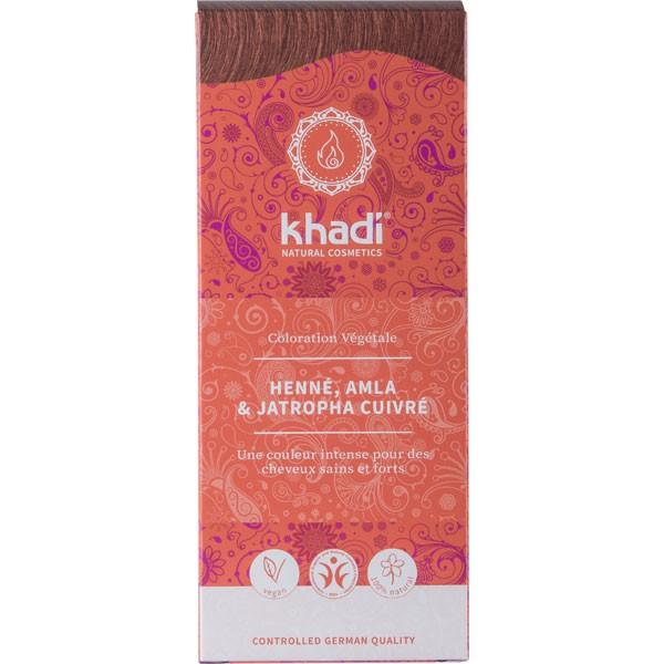 Coloration naturelle aux plantes Henné Amla & Jastropha cuivré - 100 gr - Khadi - Vue de face