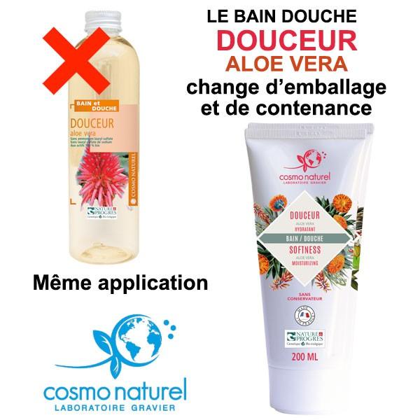 Changement d'emballage et de contenance pour le gel bain & douche Douceur Aloe Vera Cosmo Naturel
