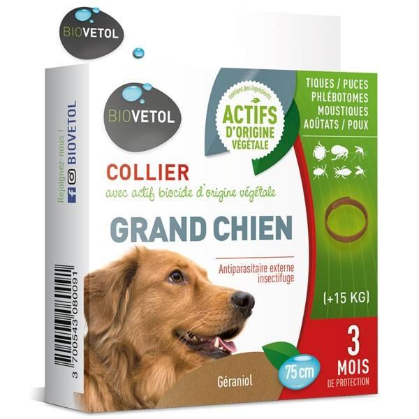 Collier insectifuge au géraniol pour grand chien - Biovétol