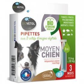 3 pipettes insectifuge Bio pour moyen chien - Biovétol