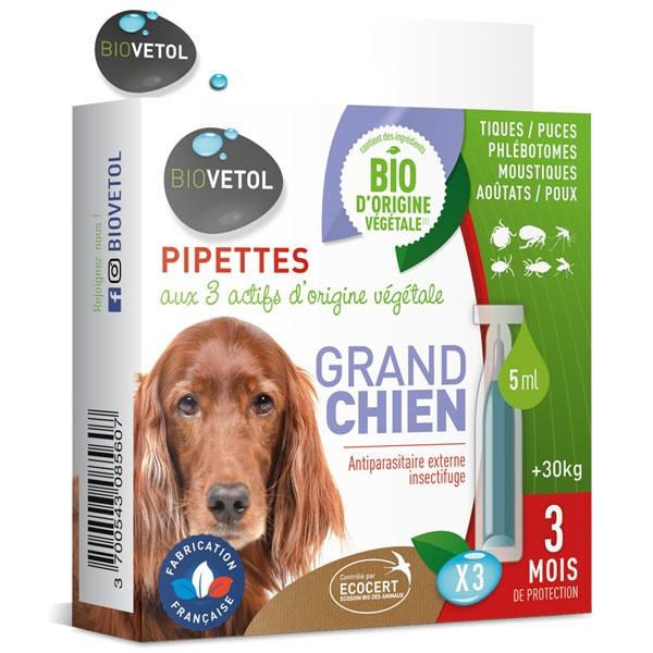 3 pipettes insectifuge Bio pour grand chien - Biovétol