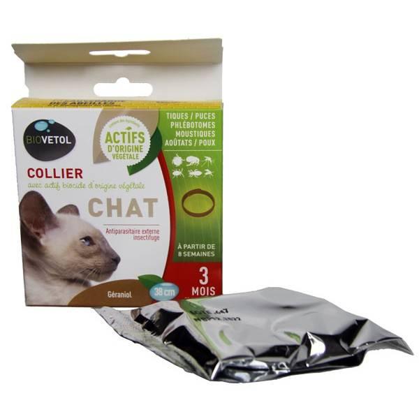 Collier insectifuge pour chat au géraniol - Biovétol - Vue 1