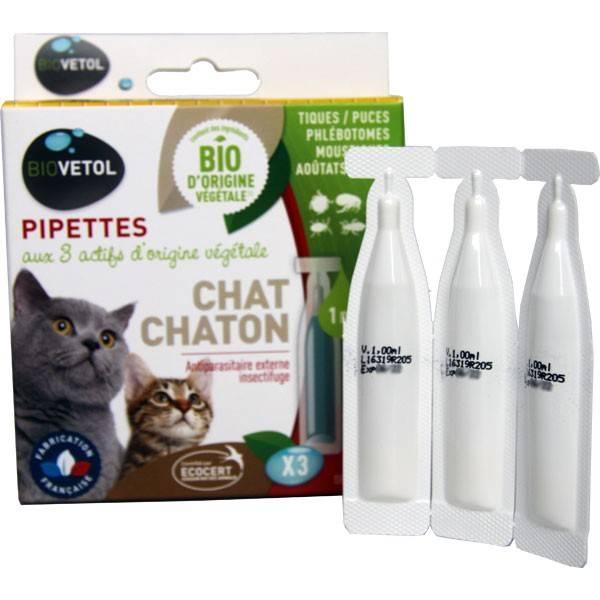 3 pipettes insectifuge Bio pour chat et chaton - Biovétol - Vue 1