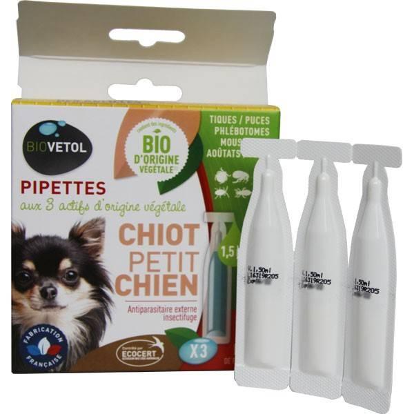 3 pipettes insectifuge Bio pour chiot et petit chien - Biovétol - Vue 1