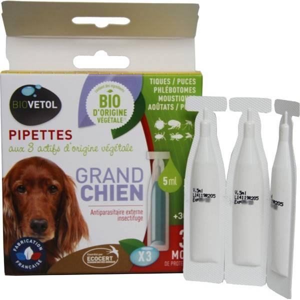 3 pipettes insectifuge Bio pour grand chien - Biovétol - Vue 1