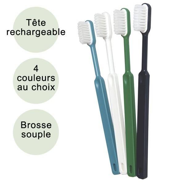 Brosse à dents souple écologique et rechargeable en bioplastique - Caliquo