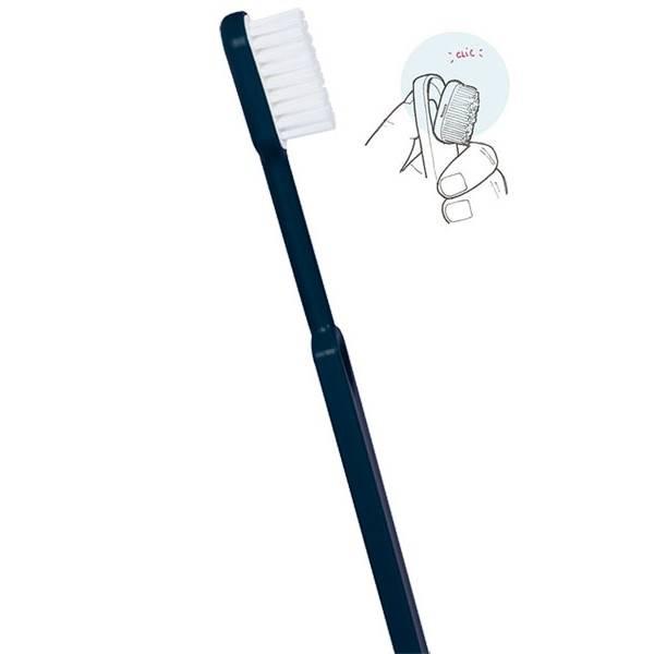 Brosse à dents médium bleu marine écologique et rechargeable en bioplastique - Caliquo