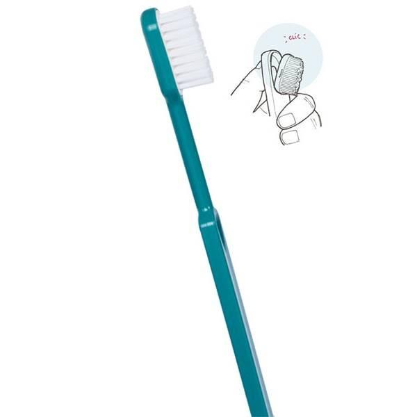Brosse à dents médium bleu turquoise écologique et rechargeable en bioplastique - Caliquo