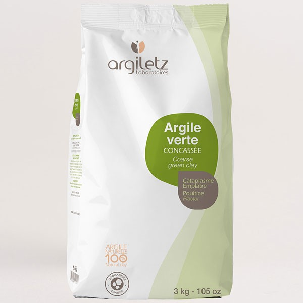 Argile verte brute illite concassée - 3 kg - Argiletz
