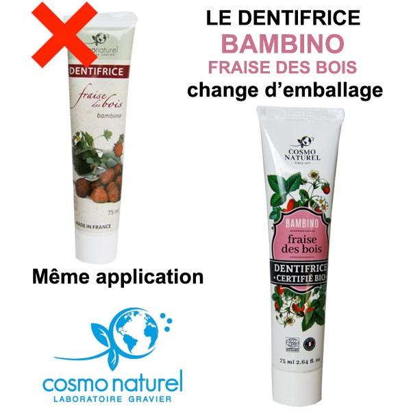 Changement d'emballage pour le dentifrice bio à la Fraise des bois pour enfants Cosmo Naturel