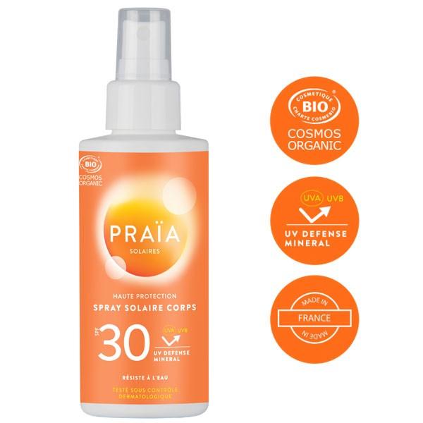 Spray solaire corps SPF 30 – 100 ml – Praïa Solaires