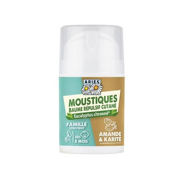 Baume répulsif cutané moustiques Amande Karité Eucalyptus citronné - 50 ml - Aries - Vue 2