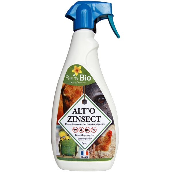 ALTO'ZINSECT spray - Insectifuge pour chevaux, poneys et autres animaux – 1000 ml – Penntybio