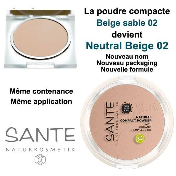 La poudre compacte change de nom, de formule et de packaging : Beige sable 02 devient Neutral Beige 02 - maquillage Sante
