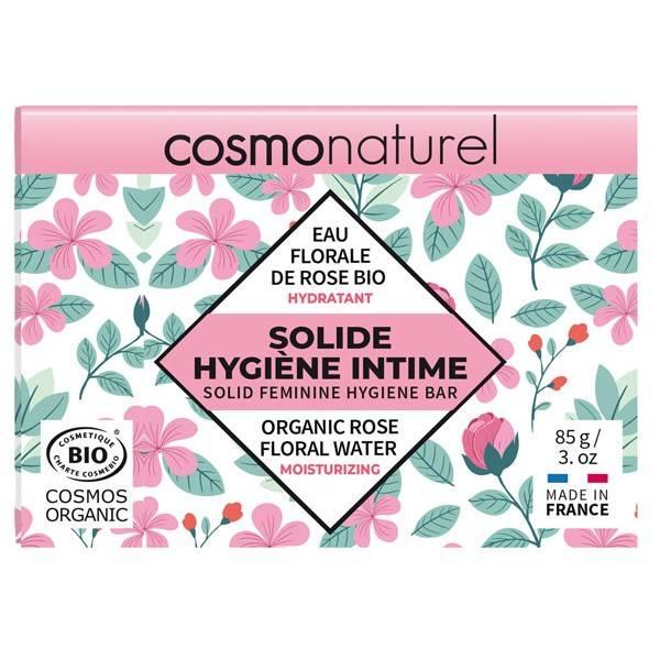 Solide hygiène intime hydratant Eau de rose bio – 85 grs – Cosmo Naturel - Vue de face