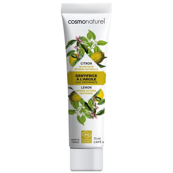 Dentifrice argile Citron bio blancheur intense naturelle – 75 ml – Cosmo Naturel - vue 1