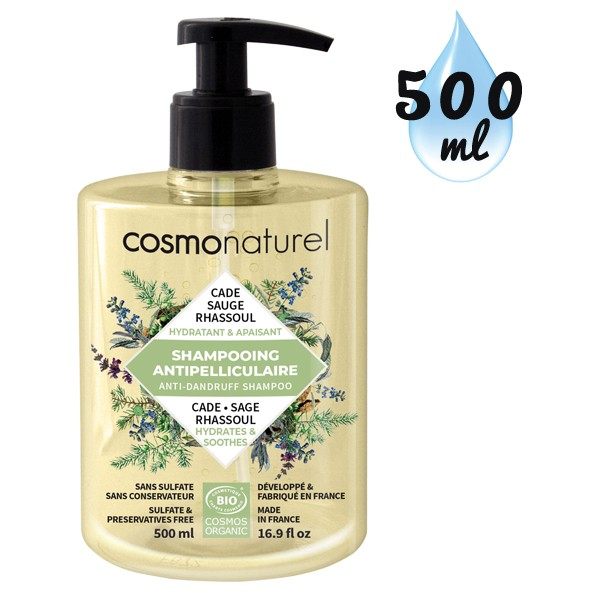 Shampooing Anti-pelliculaire Cade Sauge Rhassoul – 500 ml – Cosmo Naturel