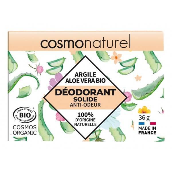 Déodorant solide Argile et Aloe Vera Bio – 36 grs – Cosmo Naturel - Vue de face