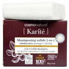 Shampooing solide 2 en 1 Karité Bio pour cheveux secs - 85 grs - Cosmo Naturel