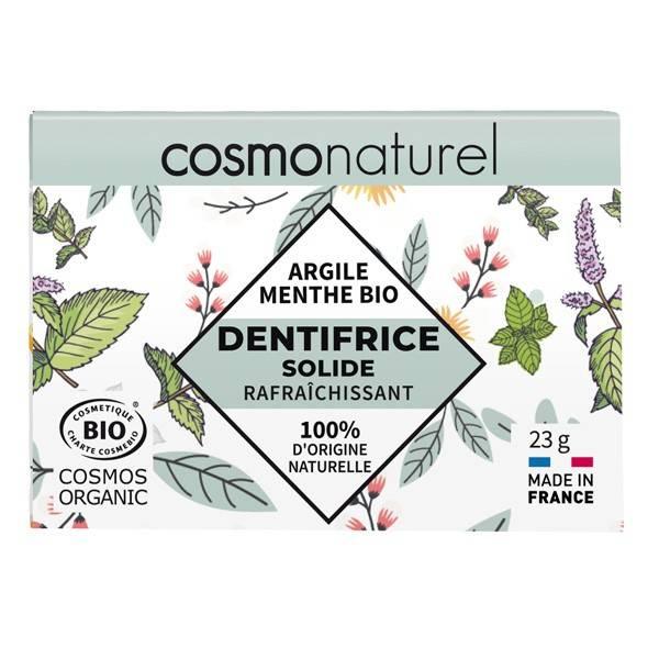 Dentifrice solide rafraîchissant Argile et Menthe bio - 23 grs - Cosmo Naturel - Vue de face