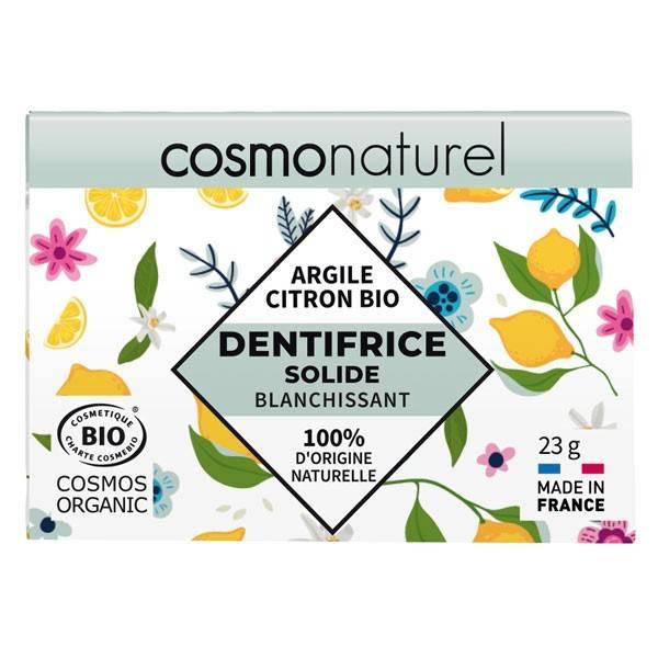 Dentifrice solide blanchissant Argile et Citron bio - 23 grs - Cosmo Naturel - Vue de face