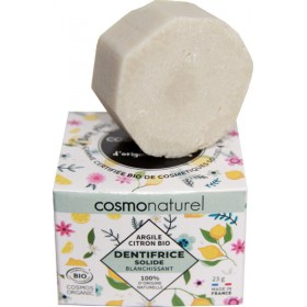 Dentifrice solide blanchissant Argile et Citron bio - 23 grs - Cosmo Naturel