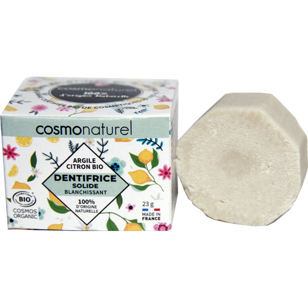Dentifrice solide blanchissant Argile et Citron bio - 23 grs - Cosmo Naturel - Vue 2