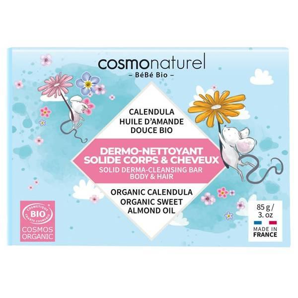 Dermo-nettoyant solide corps & cheveux bébé - 85 grs - Cosmo Naturel - Vue de face