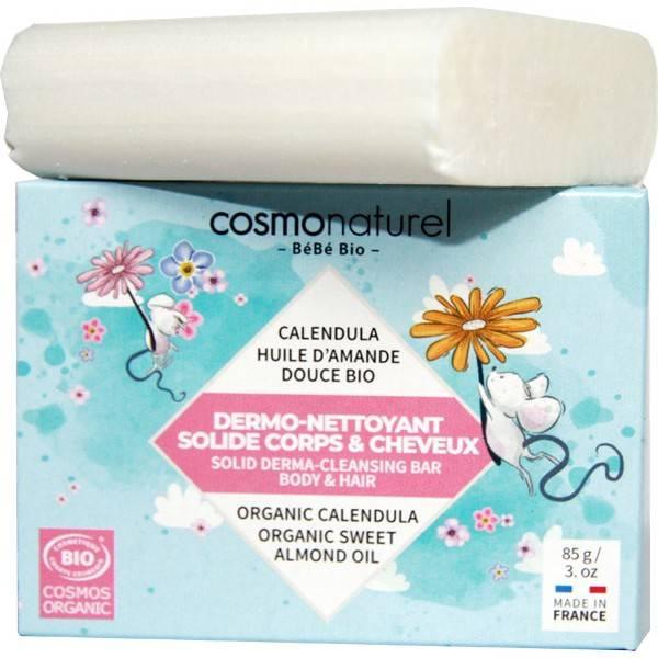 Dermo-nettoyant solide corps & cheveux bébé - 85 grs - Cosmo Naturel