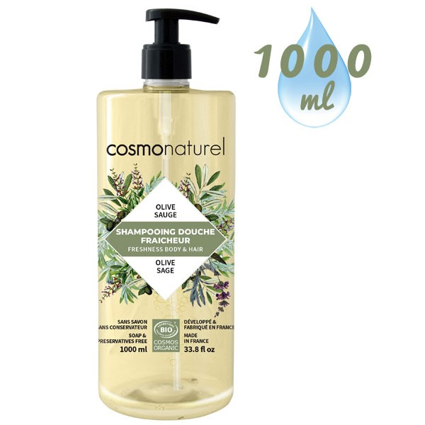 Shampooing douche Olive Sauge – 1000 ml – Cosmo Naturel