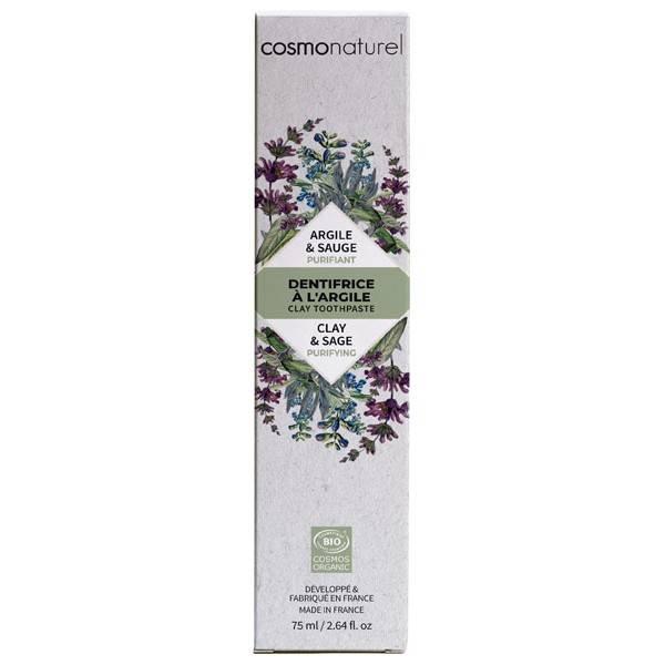 Dentifrice argile Sauge bio Purifiant  – 75 ml – Cosmo Naturel - Etui en carton
