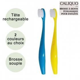 Brosse à dents enfant souple écologique et rechargeable en bioplastique - Caliquo