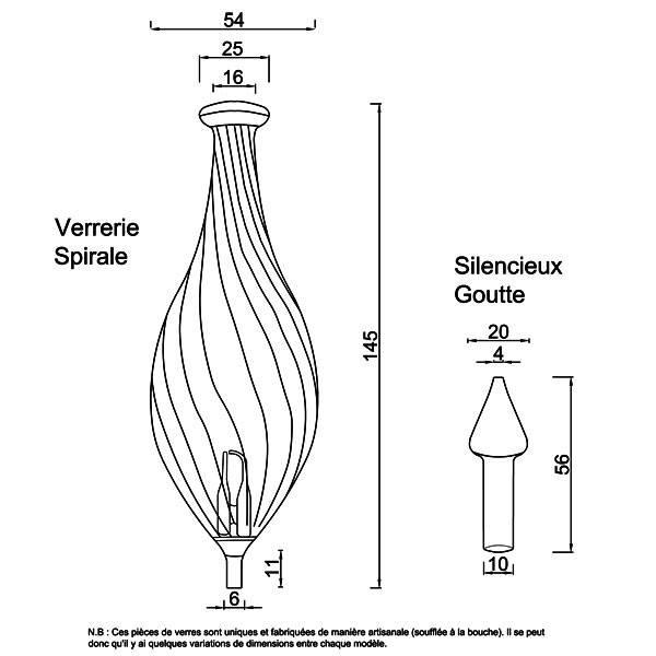 Dessin technique et dimensions pour la verrerie Spirale et le silencieux Goutte
