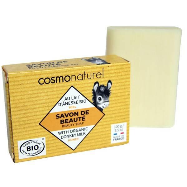Savon Bio de beauté au lait d'Ânesse Miel sans parfum – 100 gr – Cosmo Naturel