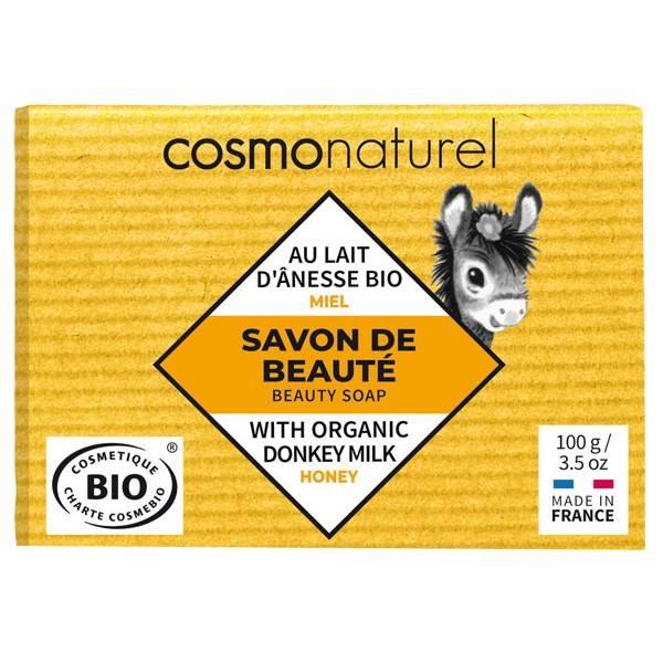 Savon Bio de beauté au lait d'Ânesse Miel sans parfum – 100 gr – Cosmo Naturel - Vue 1