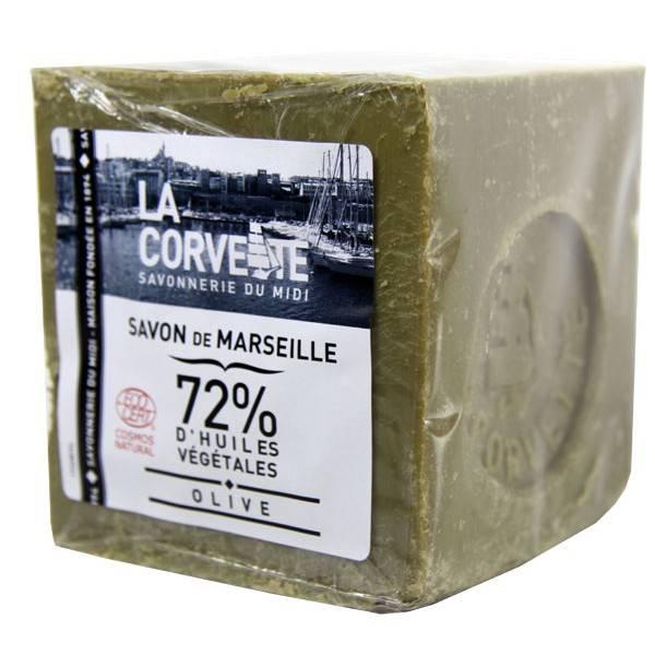 Cube de Savon de Marseille Olive 72% 500 grammes - La Corvette