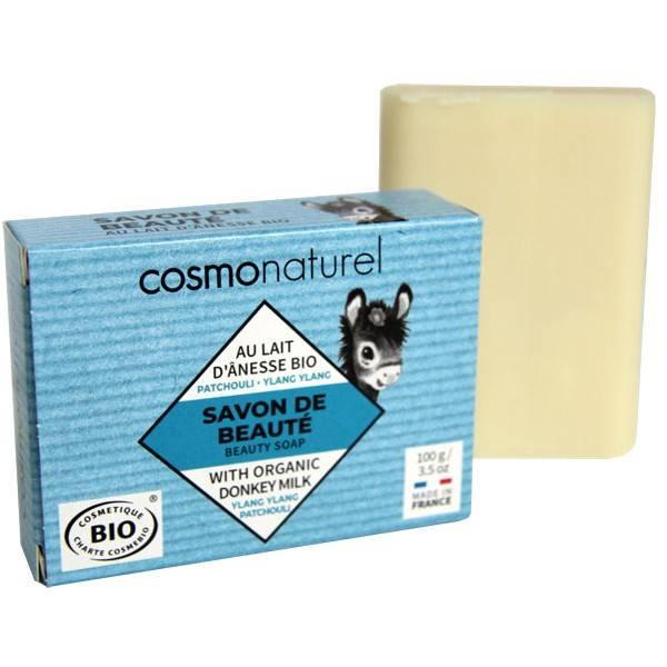 Savon Bio de beauté au lait d'Ânesse parfumé aux huiles essentielles de Patchouli et d'Ylang Ylang Bio – 100 gr – Cosmo Naturel