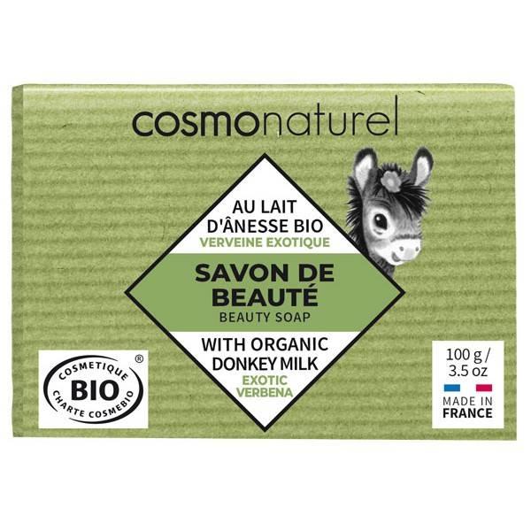 Savon Bio de beauté au lait d'Ânesse parfumé à huile essentielle de Verveine – 100 gr – Cosmo Naturel - Vue de face